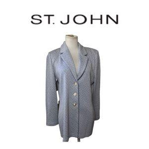 St John Blue and Off White Blazer Sz 6